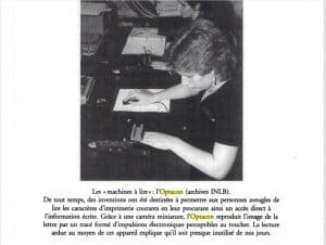 Photo de l'Optacon : Suzanne Commend / Les Instituts Nazareth et Louis Braille 1861 2001 / Éditions Septentrion / p. 269