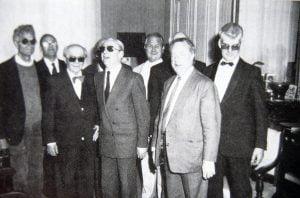Photo des neuf organistes identifiés ci-dessous.