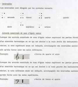Illustration de la notation des intervalles et des accords en braille.