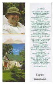 Signet recto avec photo de Paul Simard et de sa maison de Marieville et verso avec le texte de Borges : Les justes