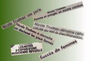 Titres d'article de Nicole Trudeau.